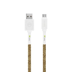 Cabo Micro USB Branco Personalizado - Animal Print