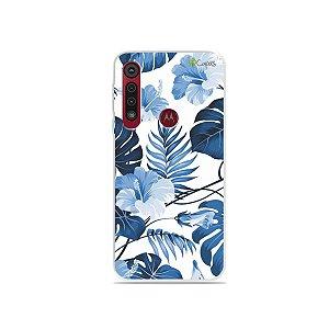 Capa para Moto G8 Plus - Flowers in Blue