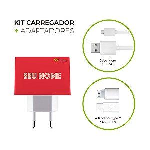 Kit Carregador Personalizado Duplo USB de Parede + Cabo Micro Usb Personalizado + Adaptador Type C  - Color Coral