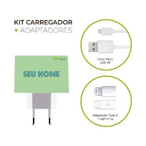 Kit Carregador Personalizado Duplo USB de Parede + Cabo Micro Usb Personalizado + Adaptador Type C  - Color Menta