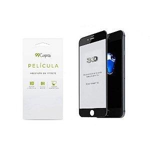 Película de Vidro 3D (borda preta) para iPhone 7 Plus - 99Capas