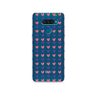 Capa para LG K50s - Corações Roxo e Rosa
