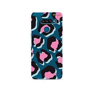 Capa para LG K50s - Animal Print Black & Pink