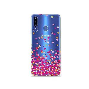 Capa para Galaxy A20s - Corações Rosa