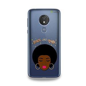 Capinha (transparente) para Moto G7 Power - Black Lives