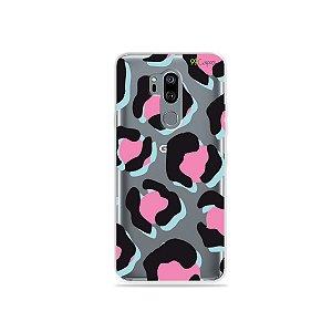 Capinha (transparente) para LG G7 ThinQ - Animal Print Black & Pink