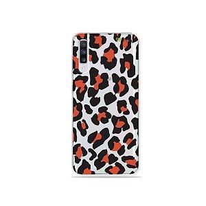 Capinha (transparente) para Galaxy A70s - Animal Print Red