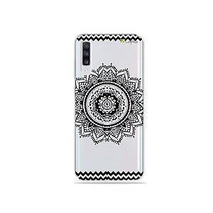 Capinha (transparente) para Galaxy A70s - Mandala Preto