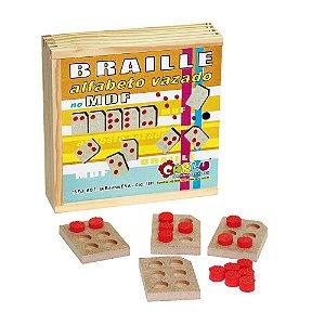 Brinquedo Educativo Alfabeto Braille Vazado Em MDF E Eva Com 15 Peças - Carlu