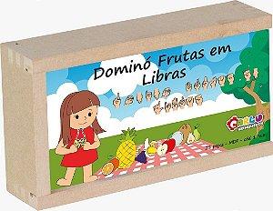 Brinquedo Educativo Domino De Frutas Em Libras Em MDF 28 Peças - Carlu
