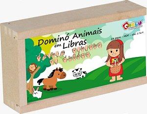 Brinquedo Educativo Domino Animais Em Libras MDF 28 Peças - Carlu