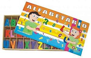 Alfabetario - EVA - 300 peças - Caixa de madeira