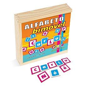 Alfabeto bimovel - MDF - 128 pçs - Caixa madeira