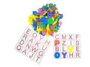 Alfabeto bingo de letras - EVA - 196 peças - Embalagem plástica