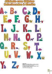 Alfabeto com objetos relacionados a escrita -EVA -52 peças -Embalagem com zíper