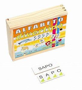 Alfabeto divertido - MDF - 60 peças - Caixa de madeira