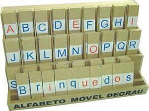Alfabeto mov degrau - MDF - 130 peças - PVC enc.