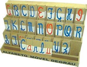 Alfabeto mov degrau cursivo - MDF - 130 peças - PVC enc.