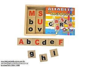 Alfabeto na madeira - MDF - 26 peças - Caixa de madeira