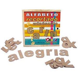 Alfabeto recortado minusculo - MDF - 36 peças - Caixa de madeira