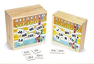 Alfabeto silábico 150 pecas - MDF - Caixa de madeira