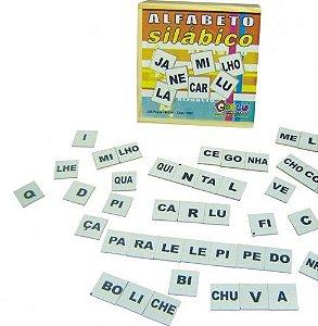 Alfabeto silábico 350 peças - MDF - Caixa de madeira