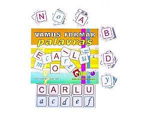 Alfabeto vamos formar palavras - MDF - 60 peças - Caixa de madeira