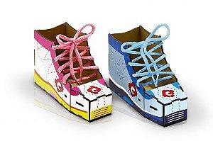 Alinhavos bota - MDF - 2 peças e 2 cad. - Caixa papel