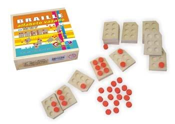 Braille Alfabeto vazado - MDF - 81 peças - Caixa de madeira