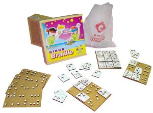 Braille bingo - MDF - 60 peças - Caixa de madeira