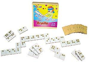 Braille dominó - MDF - 28 peças - Caixa de madeira