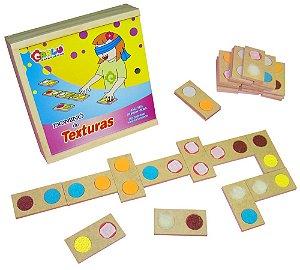 Braille dominó de texturas - MDF - 28 peças - Caixa de madeira