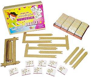 Braille jogo de associação numérica - MDF - 100 pç- Caixa de madeira