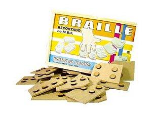 Braille sist recortado - MDF - 54 peças - Caixa de madeira