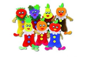 Dedoche frutas - Feltro - 7 personagens - Embalagem plástica