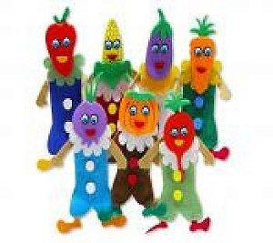 Dedoche legumes - Feltro - 7 personagens - Embalagem plástica