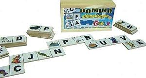 Dominó Alfabetoabetizacao - MDF - 28 peças - Caixa de madeira