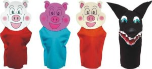 Fantoches  3 porquinhos - Feltro - 4 personagens - Embalagem plástica