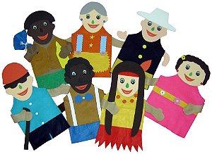 Fantoches  inclusão social - Feltro - 7 personagens - Embalagem plástica