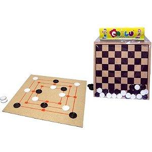 Jogo de damas e trilha 30 x 30cm - MDF - 24 peças - Emb plástica