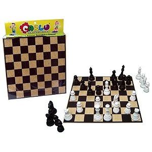 Jogo de xadrez 20x20cm - MDF - Rei 5cm - 32 peças - Embalagem plástica