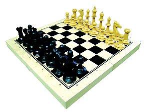 Jogo xadrez escolar (medio) - Rei 7,5cm - 32 peças - Caixa MDF