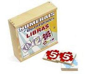 Numerais e quantidades em libras - MDF - 30 peças - Caixa de madeira