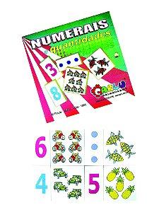 Numerais e quantidades jogo com 30 pecas - MDF - Caixa de madeira