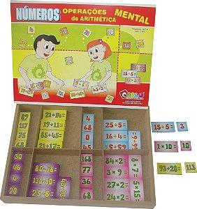 Numeros - operações de aritmetica mental-MDF-160 pç-Caixa MDF