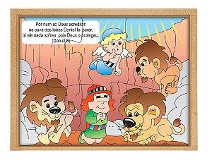 Quebra cabeça bíblico - Daniel cova leões - Base MDF 6 peças PVC enc.