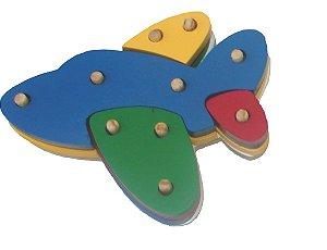 Troque e encaixe as cores - aviao - MDF - 16 peças - PVC enc.
