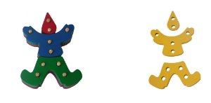 Troque e encaixe as cores - palhaço - MDF - 12 peças - PVC enc.