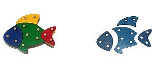 Troque e encaixe as cores - peixe - MDF - 16 peças - PVC enc.