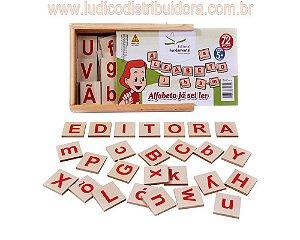 Alfabeto Ja sei ler - 72 Peças mdf /Cx. Madeira